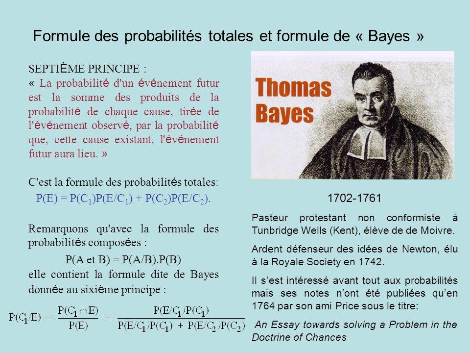Formule des probabilités totales et formule de « Bayes » SEPTI È ME PRINCIPE : « La probabilit é d'un é v é nement futur est la somme des produits de