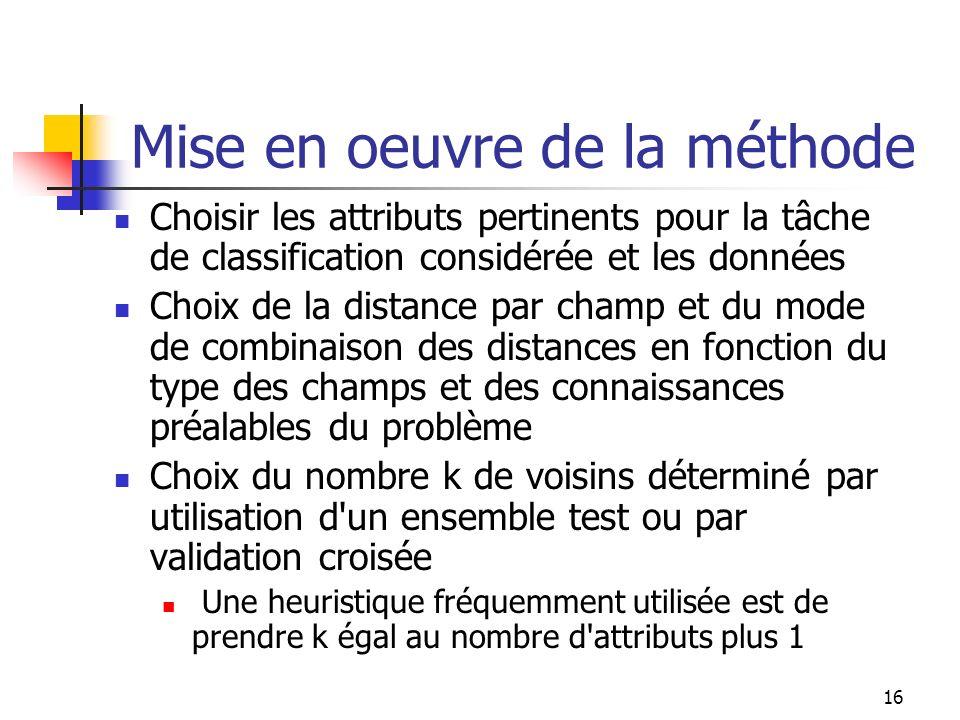 16 Mise en oeuvre de la méthode Choisir les attributs pertinents pour la tâche de classification considérée et les données Choix de la distance par ch