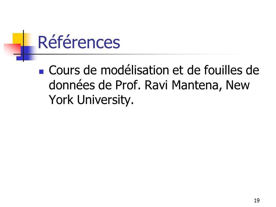 19 Références Cours de modélisation et de fouilles de données de Prof. Ravi Mantena, New York University.