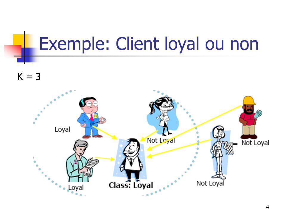 4 Exemple: Client loyal ou non K = 3