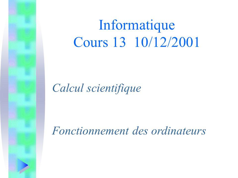 Calcul scientifique Fonctionnement des ordinateurs Informatique Cours 13 10/12/2001