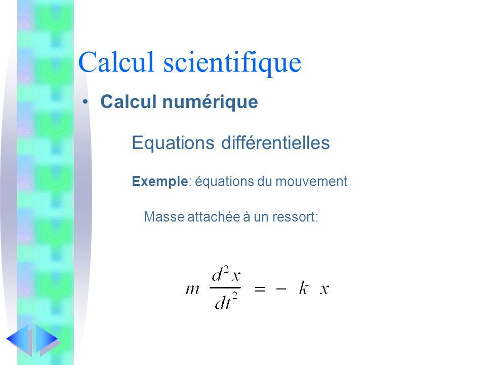Calcul scientifique Calcul numérique Equations différentielles Exemple: équations du mouvement Masse attachée à un ressort: