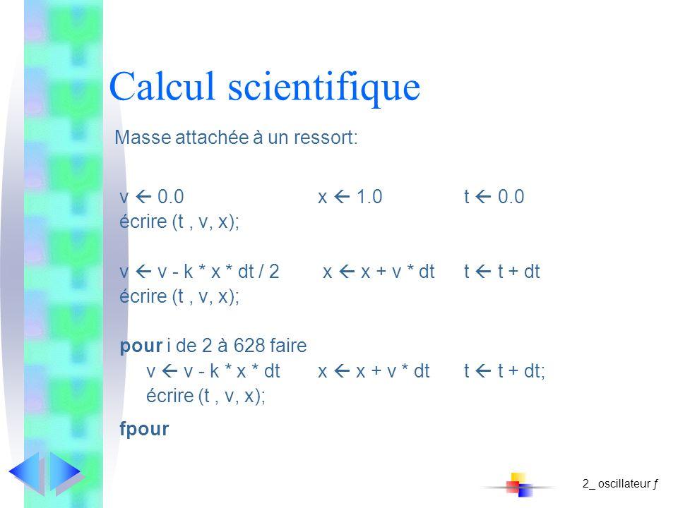 Calcul scientifique Masse attachée à un ressort: v 0.0x 1.0 t 0.0 écrire (t, v, x); v v - k * x * dt / 2 x x + v * dt t t + dt écrire (t, v, x); pour