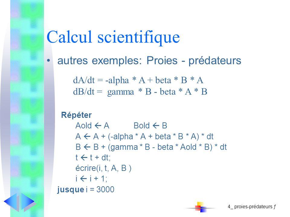 Calcul scientifique autres exemples: Proies - prédateurs Répéter Aold ABold B A A + (-alpha * A + beta * B * A) * dt B B + (gamma * B - beta * Aold *