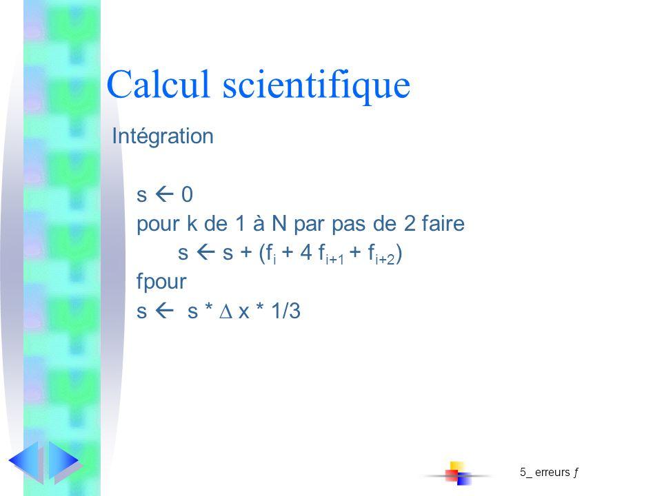 Calcul scientifique Intégration s 0 pour k de 1 à N par pas de 2 faire s s + (f i + 4 f i+1 + f i+2 ) fpour s s * x * 1/3 5_ erreurs ƒ