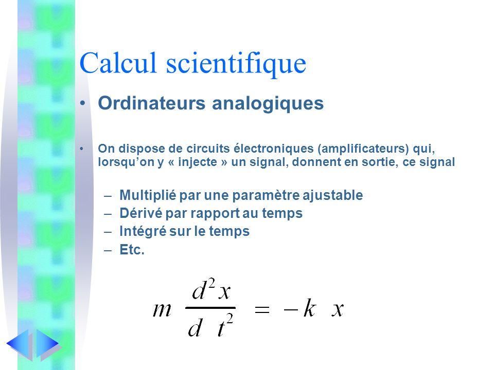 Calcul scientifique Ordinateurs analogiques On dispose de circuits électroniques (amplificateurs) qui, lorsquon y « injecte » un signal, donnent en so
