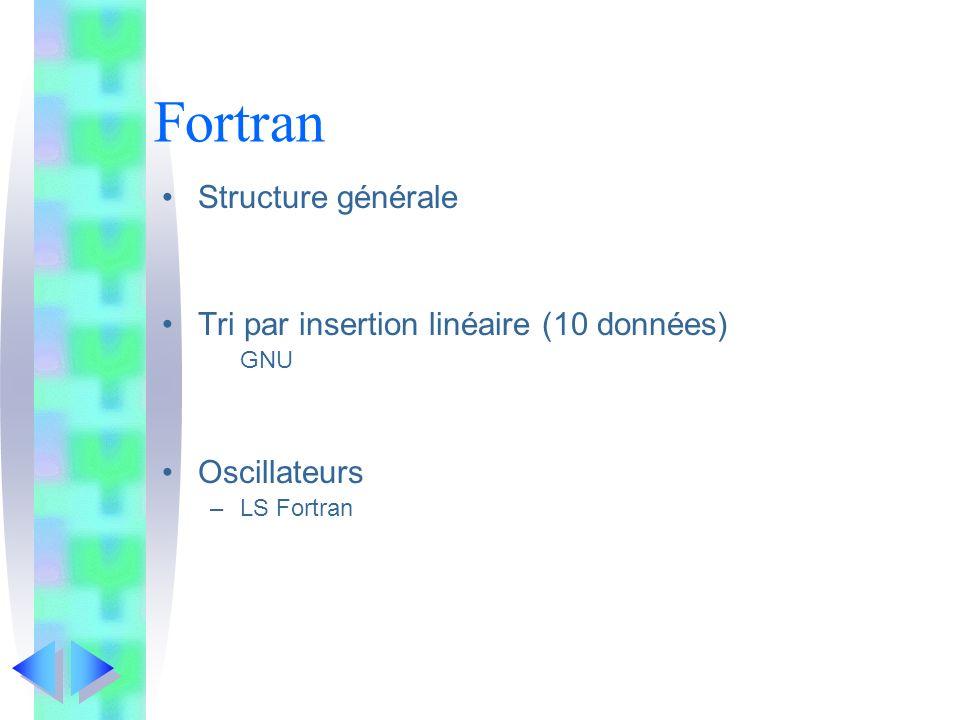 Fortran Structure générale Tri par insertion linéaire (10 données) GNU Oscillateurs –LS Fortran