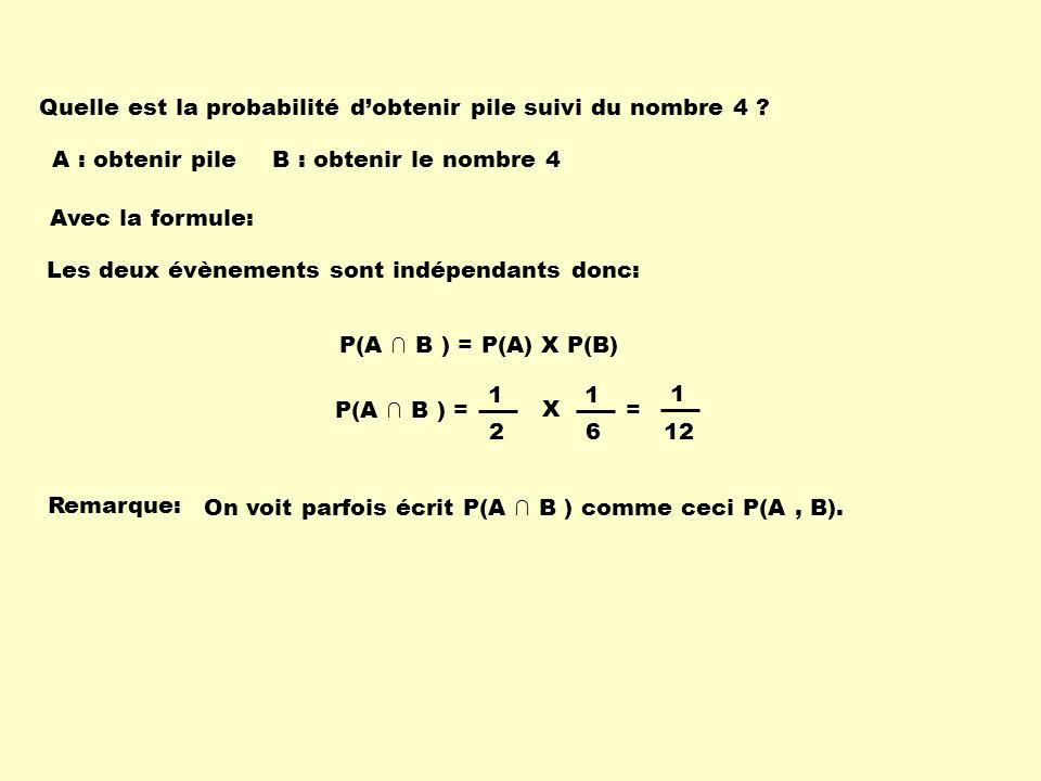 Les deux évènements sont indépendants donc: P(A B ) = P(A) X P(B) A : obtenir pileB : obtenir le nombre 4 Quelle est la probabilité dobtenir pile suiv