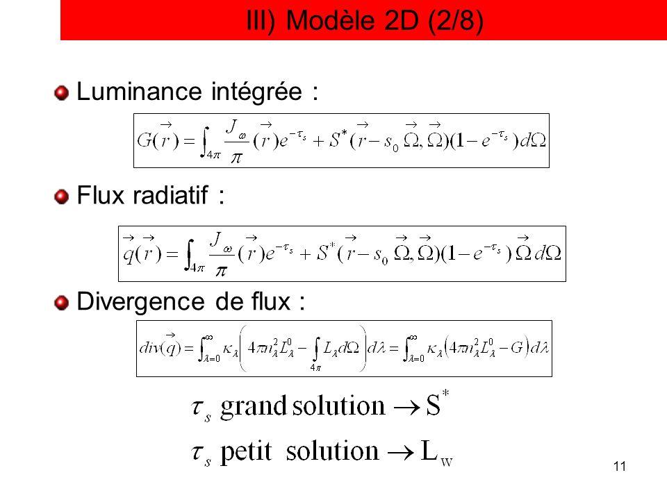 11 III) Modèle 2D (2/8) Luminance intégrée : Flux radiatif : Divergence de flux :