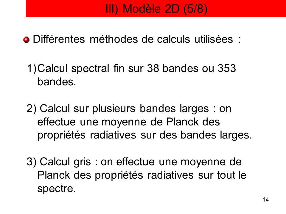 14 III) Modèle 2D (5/8) Différentes méthodes de calculs utilisées : 1)Calcul spectral fin sur 38 bandes ou 353 bandes. 2) Calcul sur plusieurs bandes