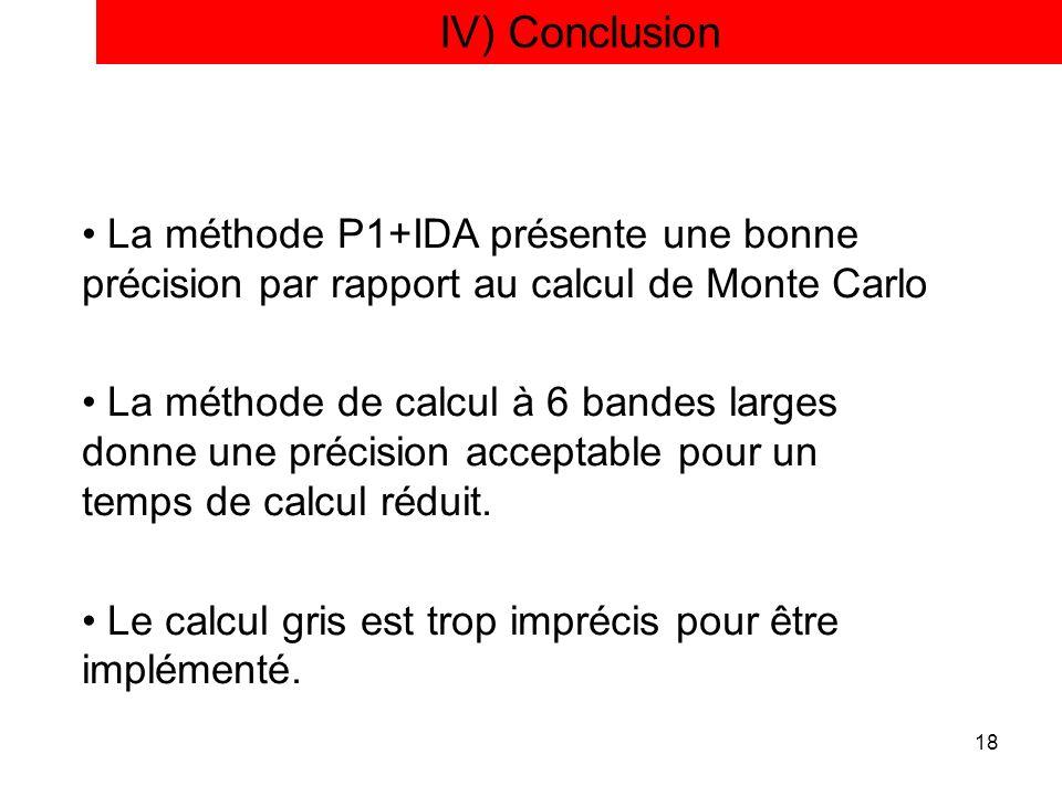 18 IV) Conclusion La méthode P1+IDA présente une bonne précision par rapport au calcul de Monte Carlo La méthode de calcul à 6 bandes larges donne une