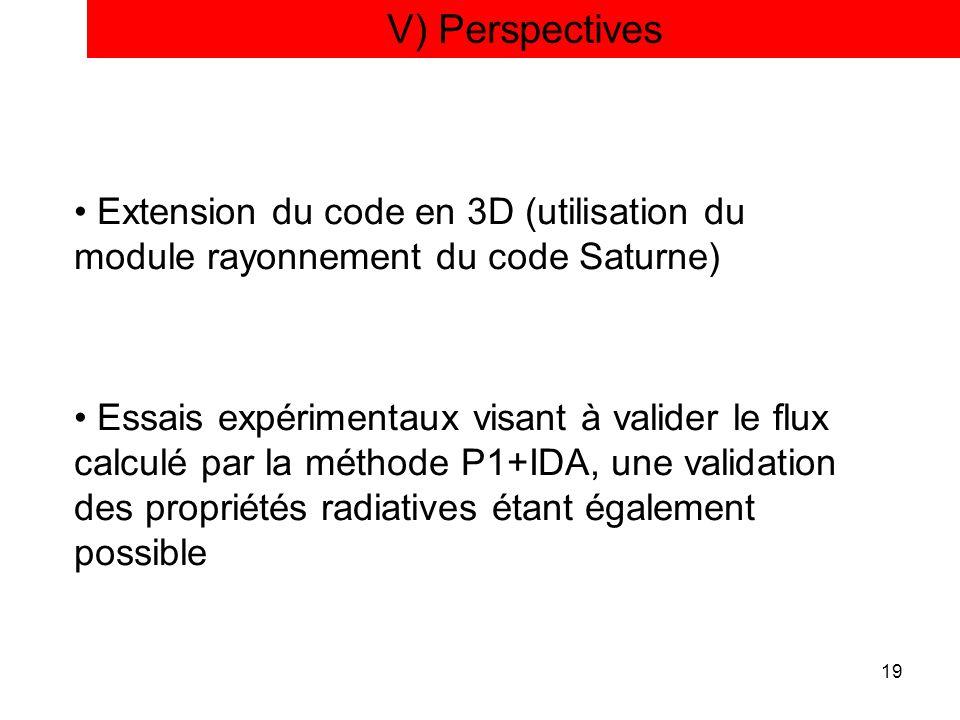 19 V) Perspectives Extension du code en 3D (utilisation du module rayonnement du code Saturne) Essais expérimentaux visant à valider le flux calculé p