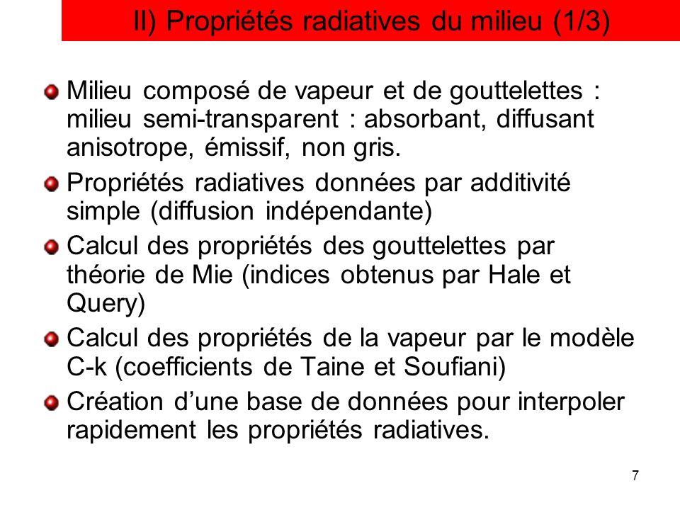 7 II) Propriétés radiatives du milieu (1/3) Milieu composé de vapeur et de gouttelettes : milieu semi-transparent : absorbant, diffusant anisotrope, é