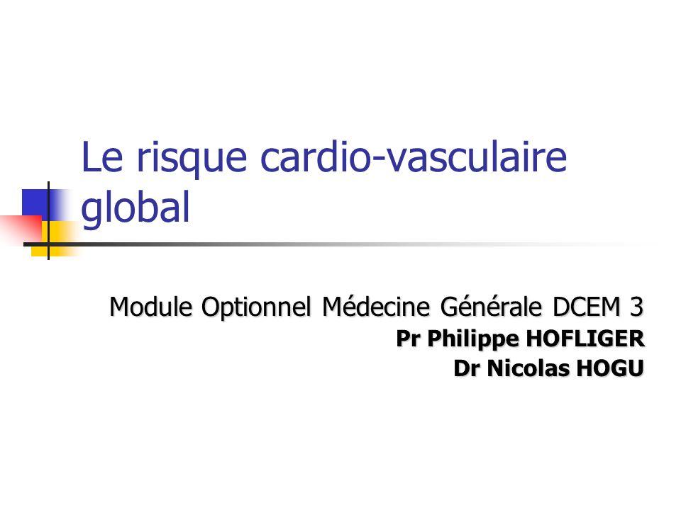 Le risque cardio-vasculaire global Module Optionnel Médecine Générale DCEM 3 Pr Philippe HOFLIGER Dr Nicolas HOGU