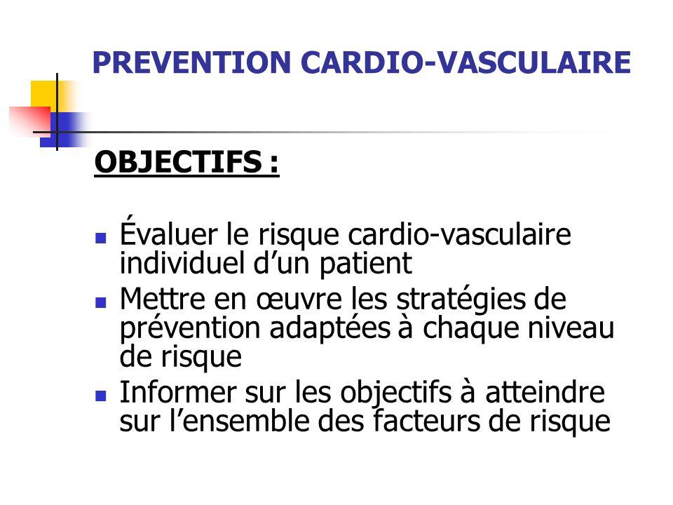 PREVENTION CARDIO-VASCULAIRE OBJECTIFS : Évaluer le risque cardio-vasculaire individuel dun patient Mettre en œuvre les stratégies de prévention adapt