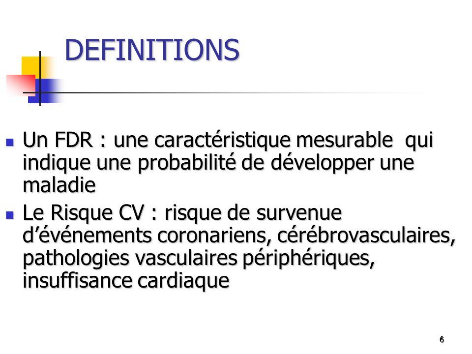 6 DEFINITIONS Un FDR : une caractéristique mesurable qui indique une probabilité de développer une maladie Un FDR : une caractéristique mesurable qui