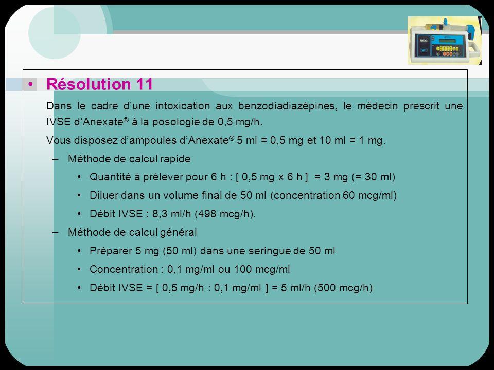 Résolution 11 Dans le cadre dune intoxication aux benzodiadiazépines, le médecin prescrit une IVSE dAnexate ® à la posologie de 0,5 mg/h. Vous dispose