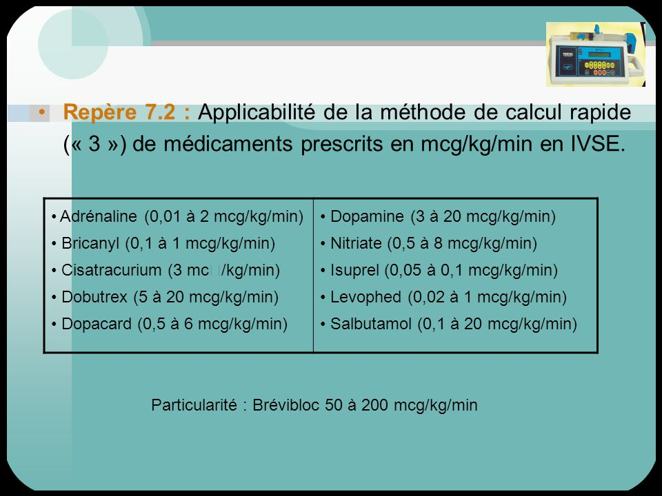 Repère 7.2 : Applicabilité de la méthode de calcul rapide (« 3 ») de médicaments prescrits en mcg/kg/min en IVSE. Adrénaline (0,01 à 2 mcg/kg/min) Bri