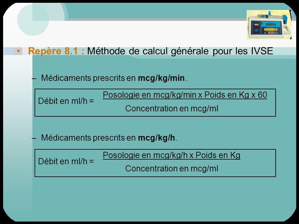 Repère 8.1 : Méthode de calcul générale pour les IVSE –Médicaments prescrits en mcg/kg/min. –Médicaments prescrits en mcg/kg/h. Posologie en mcg/kg/mi