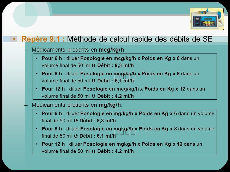 Repère 9.1 : Méthode de calcul rapide des débits de SE –Médicaments prescrits en mcg/kg/h. Pour 6 h : diluer Posologie en mcg/kg/h x Poids en Kg x 6 d
