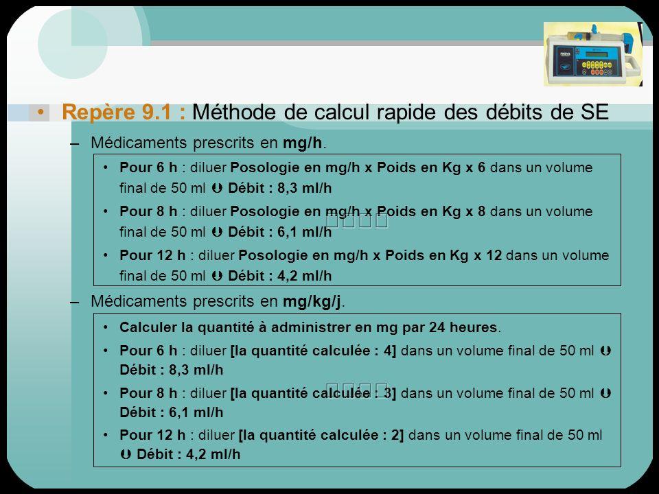 Repère 9.1 : Méthode de calcul rapide des débits de SE –Médicaments prescrits en mg/h. Pour 6 h : diluer Posologie en mg/h x Poids en Kg x 6 dans un v