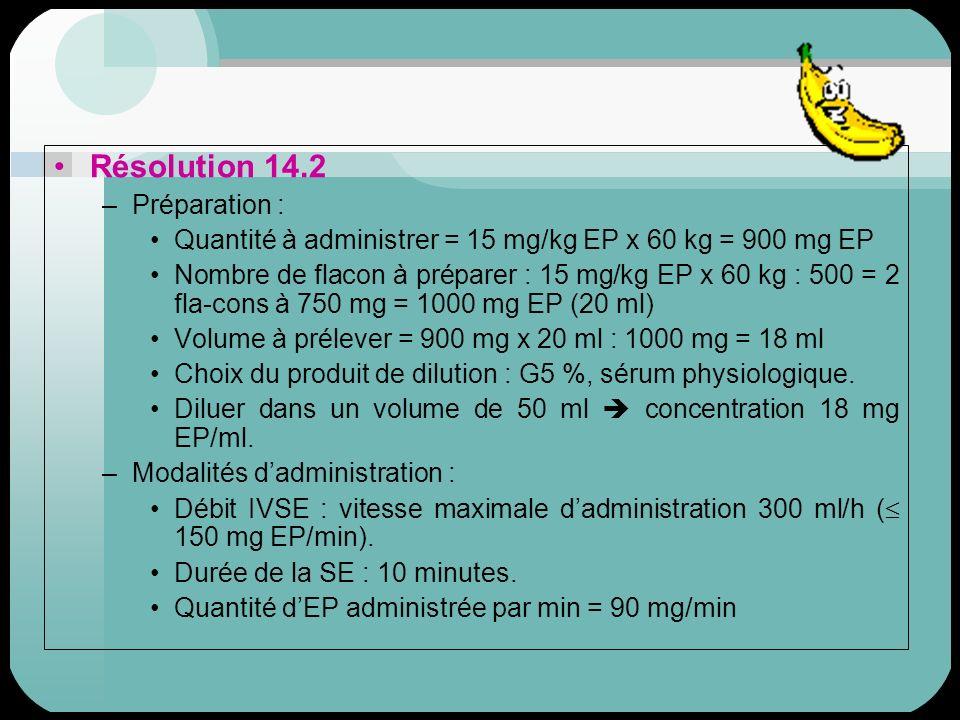 Résolution 14.2 –Préparation : Quantité à administrer = 15 mg/kg EP x 60 kg = 900 mg EP Nombre de flacon à préparer : 15 mg/kg EP x 60 kg : 500 = 2 fl