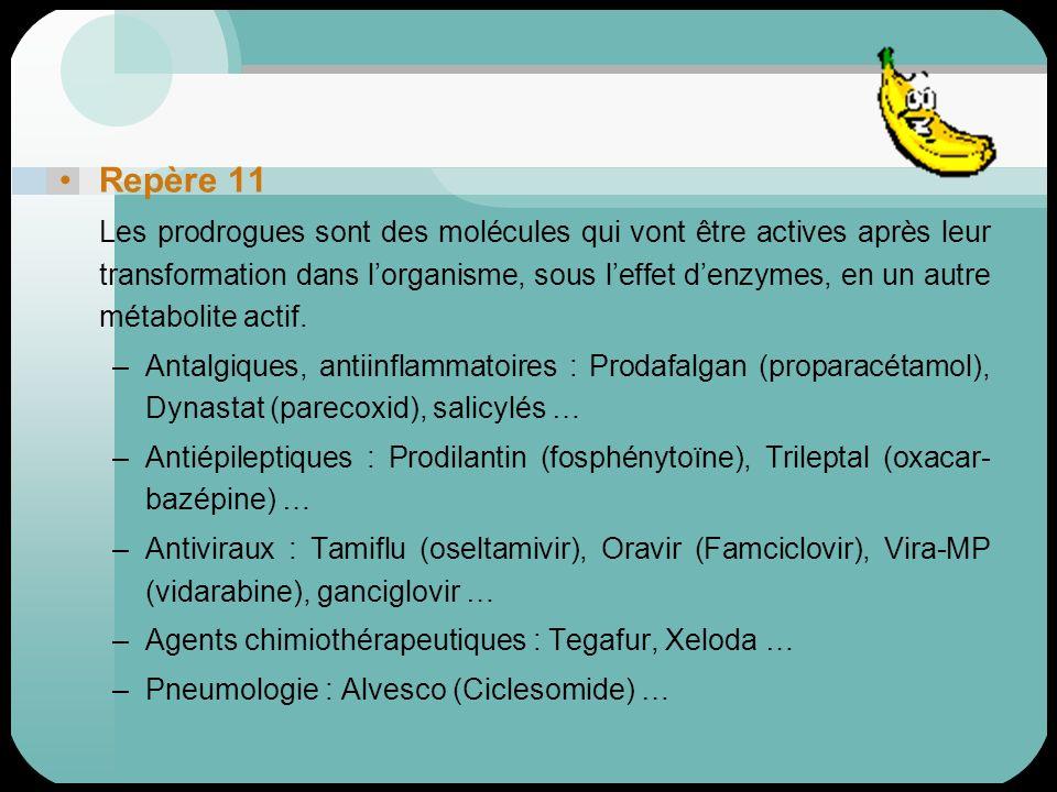 Repère 11 Les prodrogues sont des molécules qui vont être actives après leur transformation dans lorganisme, sous leffet denzymes, en un autre métabol
