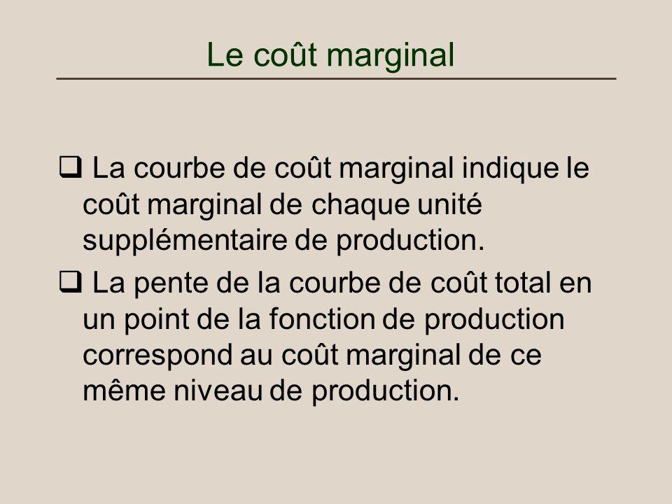 Le coût marginal La courbe de coût marginal indique le coût marginal de chaque unité supplémentaire de production. La pente de la courbe de coût total
