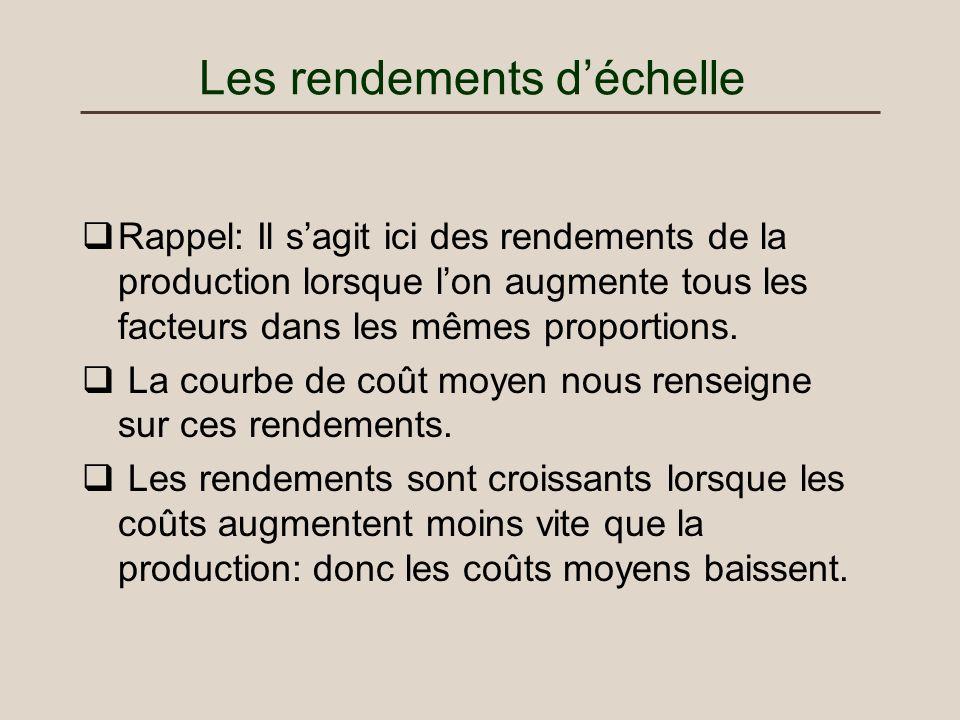 Les rendements déchelle Rappel: Il sagit ici des rendements de la production lorsque lon augmente tous les facteurs dans les mêmes proportions. La cou