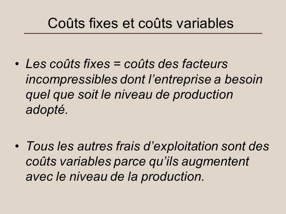 Coûts fixes et coûts variables Les coûts fixes = coûts des facteurs incompressibles dont lentreprise a besoin quel que soit le niveau de production ad
