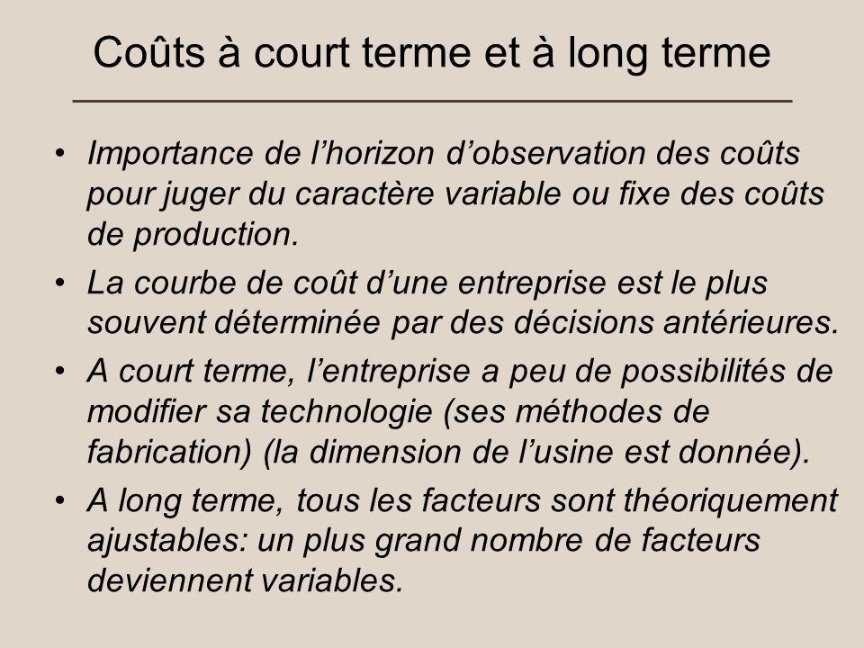 Coûts à court terme et à long terme Importance de lhorizon dobservation des coûts pour juger du caractère variable ou fixe des coûts de production. La