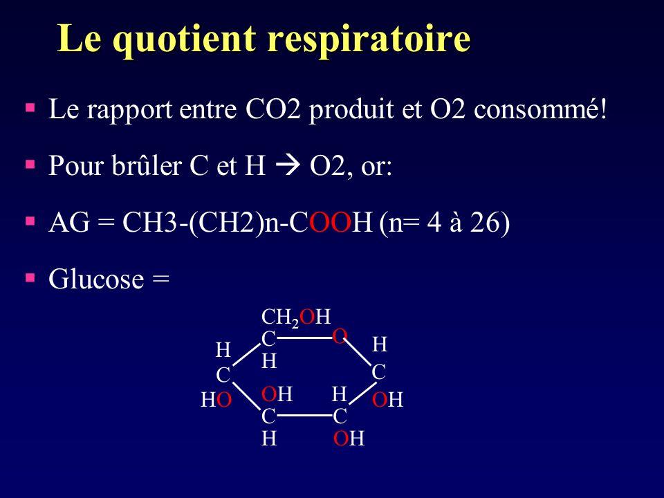 Le quotient respiratoire Le rapport entre CO2 produit et O2 consommé! Pour brûler C et H O2, or: AG = CH3-(CH2)n-COOH (n= 4 à 26) Glucose = C CC C C O