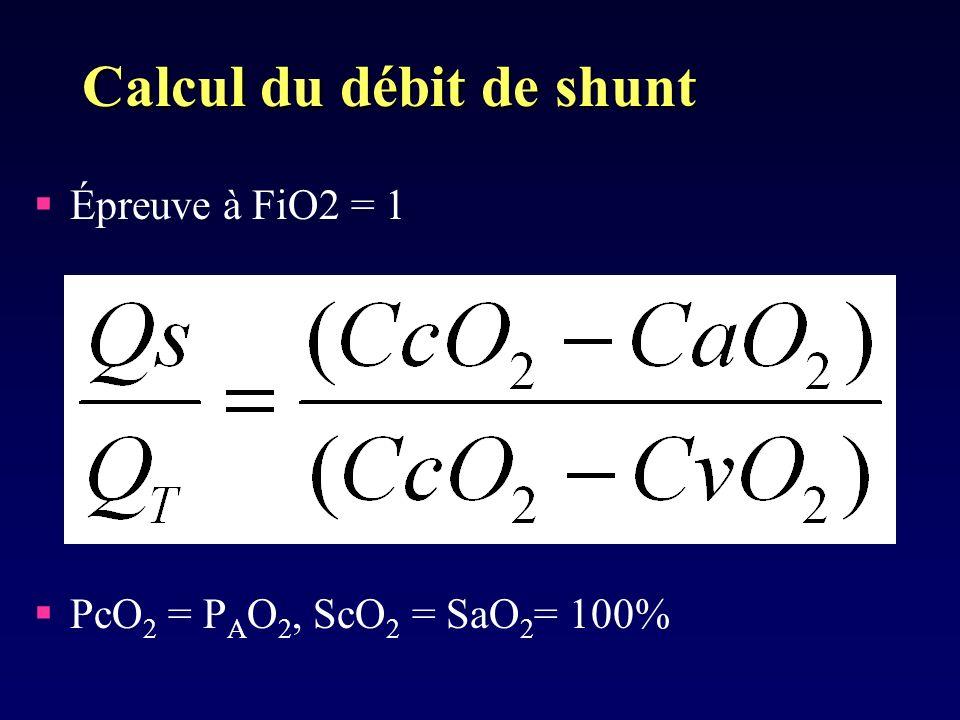 Calcul du débit de shunt Épreuve à FiO2 = 1 PcO 2 = P A O 2, ScO 2 = SaO 2 = 100%