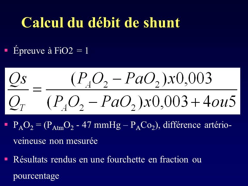 Calcul du débit de shunt Épreuve à FiO2 = 1 P A O 2 = (P Atm O 2 - 47 mmHg – P A Co 2 ), différence artério- veineuse non mesurée Résultats rendus en une fourchette en fraction ou pourcentage