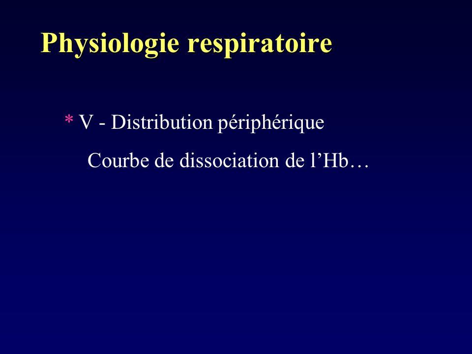 Physiologie respiratoire *V - Distribution périphérique Courbe de dissociation de lHb…