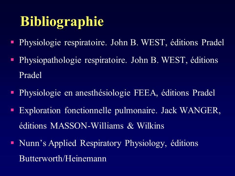 Bibliographie Physiologie respiratoire. John B. WEST, éditions Pradel Physiopathologie respiratoire. John B. WEST, éditions Pradel Physiologie en anes