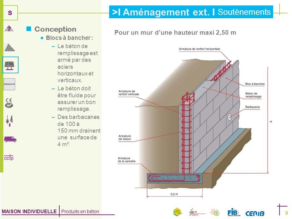 MAISON INDIVIDUELLE Produits en béton >I Aménagement ext. I Soutènements 9 Le béton de remplissage est armé par des aciers horizontaux et verticaux. L