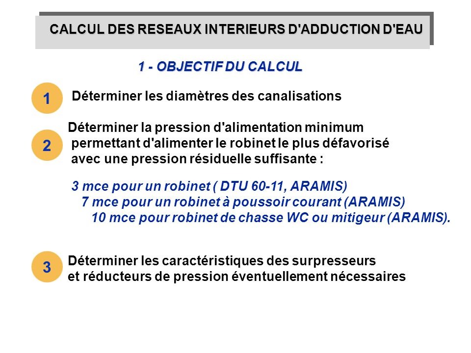 CALCUL DES RESEAUX INTERIEURS D'ADDUCTION D'EAU 1 - OBJECTIF DU CALCUL 3 mce pour un robinet ( DTU 60-11, ARAMIS) 7 mce pour un robinet à poussoir cou