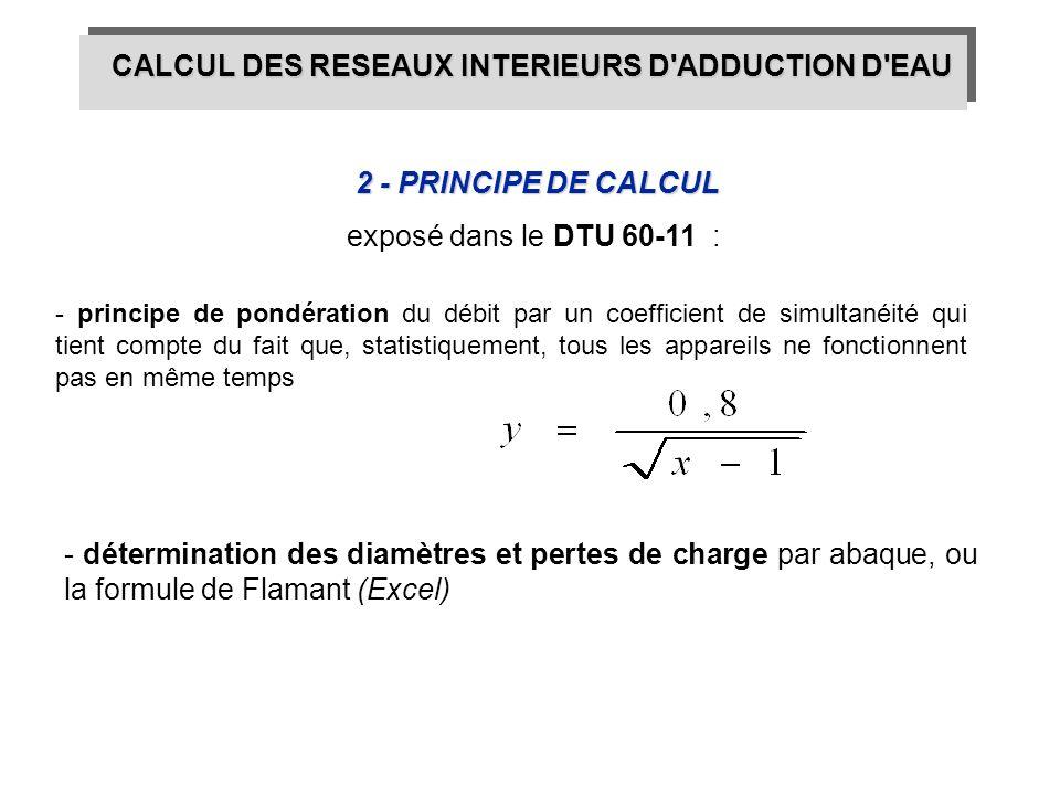 2 - PRINCIPE DE CALCUL - détermination des diamètres et pertes de charge par abaque, ou la formule de Flamant (Excel) CALCUL DES RESEAUX INTERIEURS D'