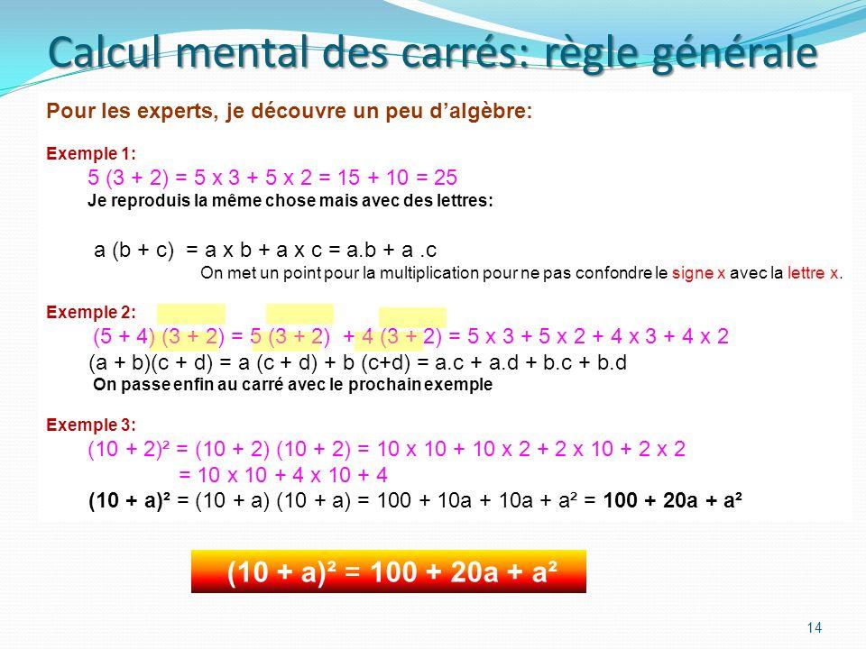 Pour trouver le nombre quand je connais le carré 13 Si on me donne le carré 25, je connais immédiatement le nombre qui donne ce carré. Cest 5, car 5 x