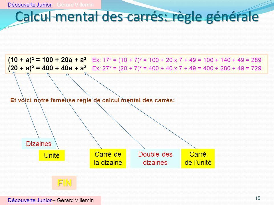 Calcul mental des carrés: règle générale 14 Pour les experts, je découvre un peu dalgèbre: Exemple 1: 5 (3 + 2) = 5 x 3 + 5 x 2 = 15 + 10 = 25 Je repr