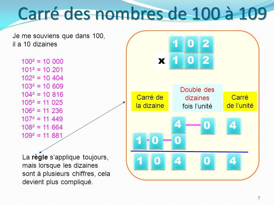 Carré des nombres de 100 à 109 7 100² = 10 000 101² = 10 201 102² = 10 404 103² = 10 609 104² = 10 816 105² = 11 025 106² = 11 236 107² = 11 449 108² = 11 664 109² = 11 881 4 4 Carré de lunité 0 0 Double des dizaines fois lunité 0 0 x Carré de la dizaine 4 4 4 4 0 0 4 4 0 0 x 1 1 1 1 La règle sapplique toujours, mais lorsque les dizaines sont à plusieurs chiffres, cela devient plus compliqué.