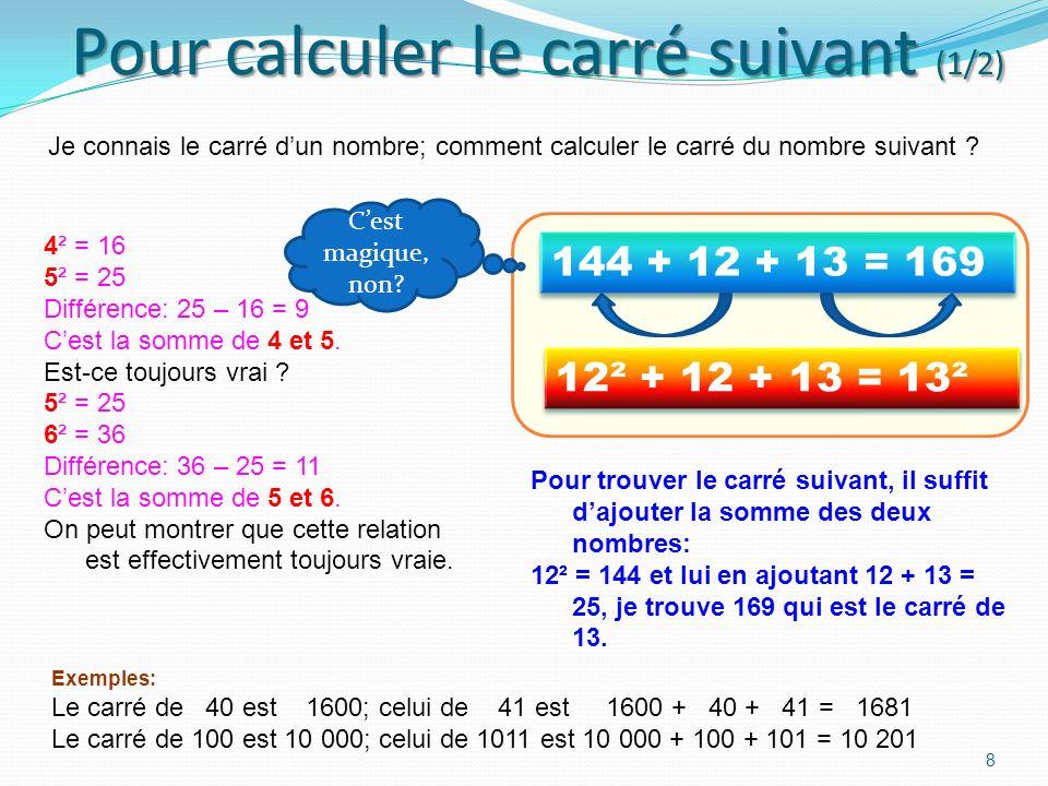 Carré des nombres de 100 à 109 7 100² = 10 000 101² = 10 201 102² = 10 404 103² = 10 609 104² = 10 816 105² = 11 025 106² = 11 236 107² = 11 449 108²