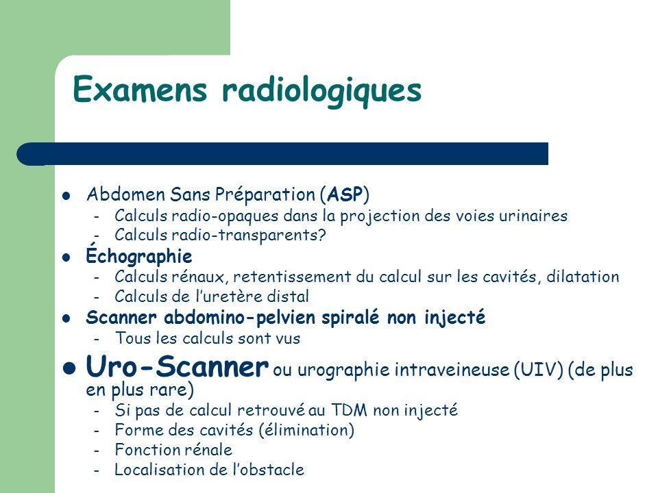 Examens radiologiques Abdomen Sans Préparation (ASP) – Calculs radio-opaques dans la projection des voies urinaires – Calculs radio-transparents? Écho