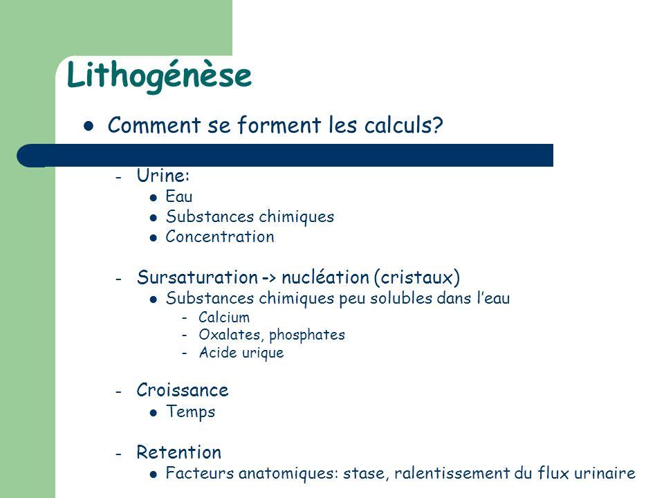 Lithogénèse Comment se forment les calculs? – Urine: Eau Substances chimiques Concentration – Sursaturation -> nucléation (cristaux) Substances chimiq