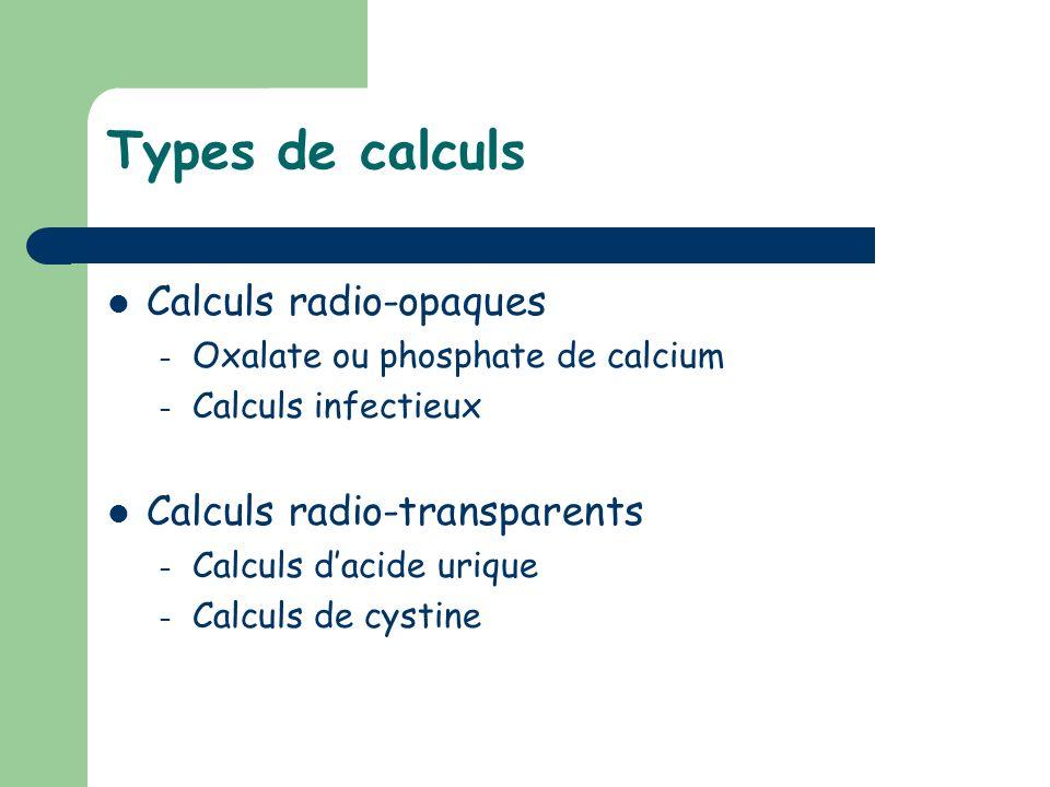 Types de calculs Calculs radio-opaques – Oxalate ou phosphate de calcium – Calculs infectieux Calculs radio-transparents – Calculs dacide urique – Cal