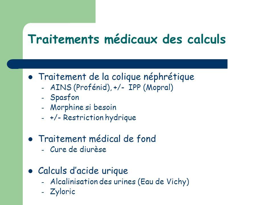 Traitements médicaux des calculs Traitement de la colique néphrétique – AINS (Profénid), +/- IPP (Mopral) – Spasfon – Morphine si besoin – +/- Restric