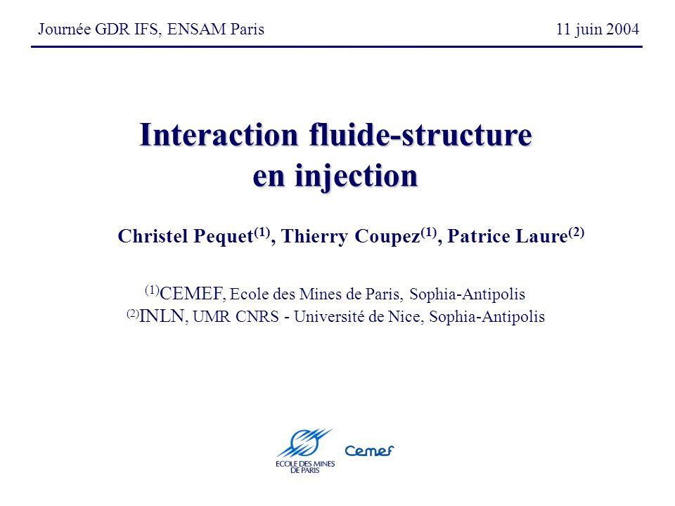 Journée GDR IFS, ENSAM Paris 11 juin 2004 Christel Pequet (1), Thierry Coupez (1), Patrice Laure (2) (1) CEMEF, Ecole des Mines de Paris, Sophia-Antipolis (2) INLN, UMR CNRS - Université de Nice, Sophia-Antipolis Interaction fluide-structure en injection