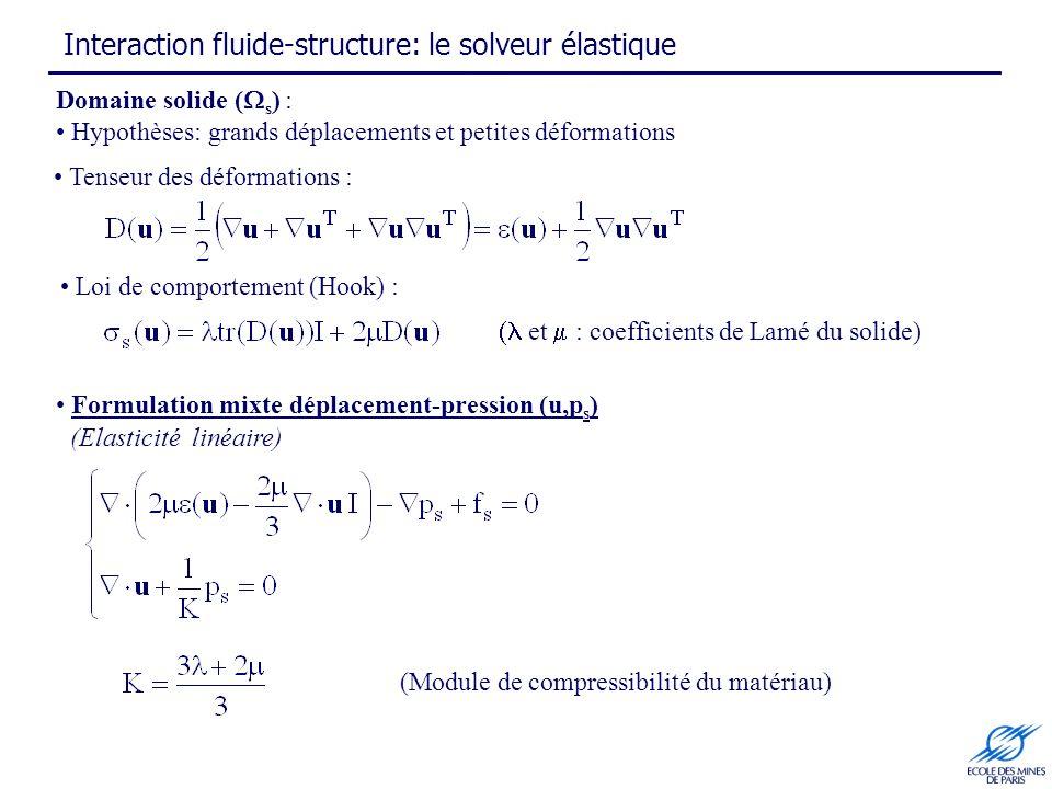 Interaction fluide-structure: le solveur élastique Domaine solide ( s ) : Hypothèses: grands déplacements et petites déformations Formulation mixte déplacement-pression (u,p s ) Loi de comportement (Hook) : et : coefficients de Lamé du solide) (Module de compressibilité du matériau) Tenseur des déformations : (Elasticité linéaire)