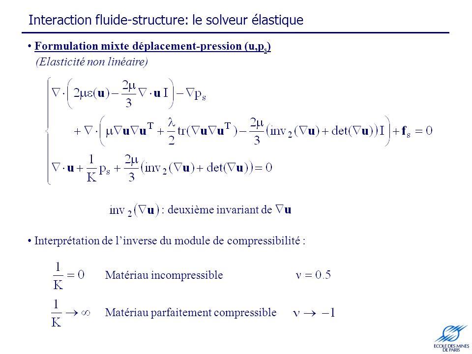 Interaction fluide-structure: le solveur élastique Formulation mixte déplacement-pression (u,p s ) (Elasticité non linéaire) Matériau incompressible Matériau parfaitement compressible Interprétation de linverse du module de compressibilité : : deuxième invariant de
